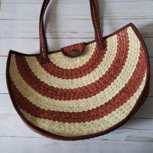 Retro Boho Woven Beach Bag